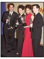 "The cast members of ""Will & Grace"" backstage at the SAG Screen Actors Guild Awards 2001"