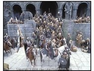 The Lord of the Rings: The Two Towers movie still: Rohan soldiers gather at the great fortress Helm's Deep