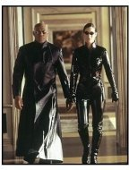 """""""The Matrix Reloaded""""  Movie still: Carrie-Anne Moss and Laurence Fishburne"""