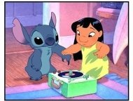 """Lilo & Stitch movie still: A Hawaiian girl named Lilo discovers that Stitch can do a """"Stupid pet trick"""" when he uses his nail to play a phonograph record and the sound comes out of his mouth"""
