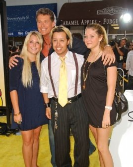 David Hasselhoff and his daughters with Efren Ramirez