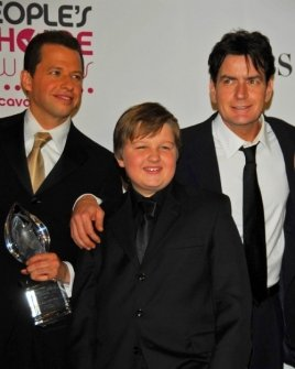 Jon Cryer with Angus T. Jones and Charlie Sheen
