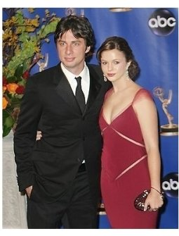 Zach Braff and Amber Tamblyn backstage at the 2004 Emmy Awards