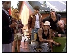 Welcome to Collinwood movie still: Isaiah Washington, Patricia Clarkson, Andrew Davoli, George Clooney, Sam Rockwell, Michael Jeter and William H.Macy in Welcome to Collinwood