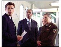 The Sum of All Fears Movie Still: Ben Affleck as Jack Ryan, Morgan Freeman as Bill Cabot and Lev Prygounov as General Saratkin