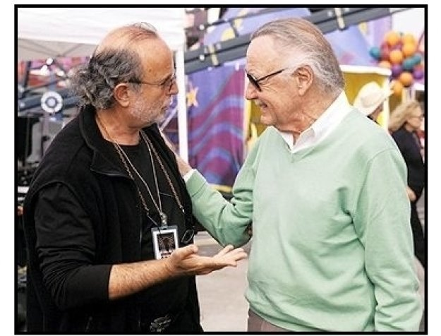 Spider-Man movie still: Executive Producer Avi Arad and Spider-Man creator Stan Lee on the set of Spider-Man