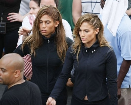 Jennifer Lopez and Her Stunt Double